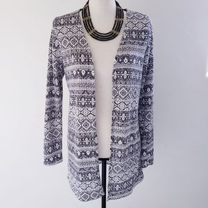 Southwestern Geo Print Long Ribbed Open Cardigan